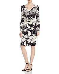 Adrianna Papell Floral Print Ruched Dress Black White