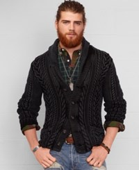 Denim And Supply Ralph Lauren Cable Knit Shawl Cardigan Washed Black