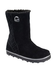 Sorel Glacy Suede And Faux Fur Lined Ankle Boots Black