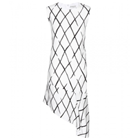 Balenciaga Graphic Net Frill Crepe Dress Blanc Noir