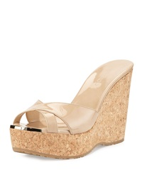 Jimmy Choo Perfume Patent Leather Crisscross Wedge Nude
