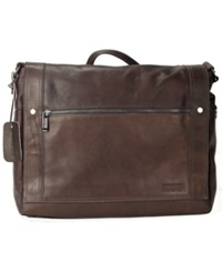 Kenneth Cole Reaction Colombian Leather Messenger Bag Brown