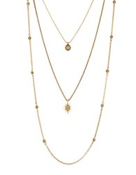 Lucky Brand Semi Precious Rock Crystal Layer Necklace Gold