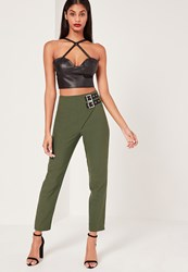 Missguided Buckle Detail Wrap Over Trousers Khaki
