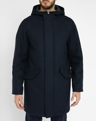 Scotch And Soda Navy Raglan Wool Cotton Hooded Coat Blue