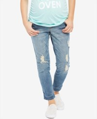 Motherhood Indigo Blue Maternity Distressed Rinse Wash Boyfriend Jeans Medium Wash