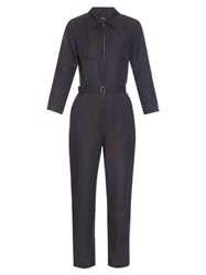 A.P.C. Truck Linen And Cotton Blend Jumpsuit Navy