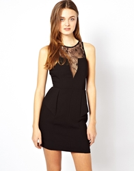 Aryn K Peplum Dress With Sheer Detail Black
