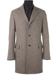 Fay Layered Padded Coat Brown