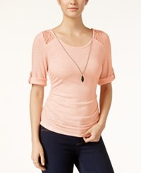 Amy Byer Bcx Juniors' Lace Trim Roll Tab Top With Necklace Blush