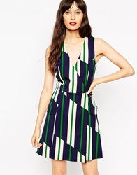 Asos A Line Wrap Dress In Stripe With Buckle Detail Print