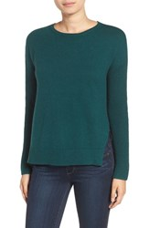 Trouve Women's Asymmetrical Hem Sweater Green Bug