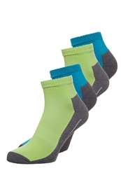Camano Sport Quarter 4 Pack Socks Lime Turquoise Light Green
