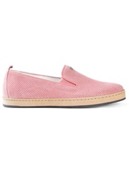 Armani Jeans Perforated Loafers Pink And Purple