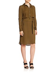 Haute Hippie Silk And Suede Shirtdress Military