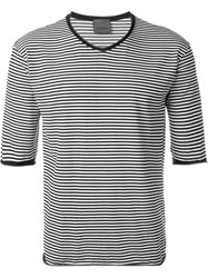 Laneus Striped T Shirt Black