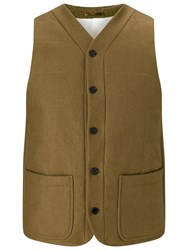 John Lewis And Co. Wool Wadded Vest Olive