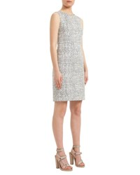 Akris Punto Cross Stitch Printed Jacquard Sheath Dress Cliff Chalk