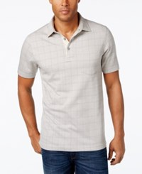 Tasso Elba Men's Big And Tall Windowpane Polo Only At Macy's City Taupe Combo