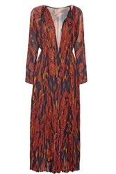Thakoon Pleated Printed Silk Chiffon Gown Brown