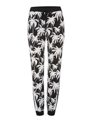 Vince Camuto Slim Leg Relaxed Palm Print Trousers Black White