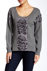 Hale Bob Velvet Textured Sweater Gray
