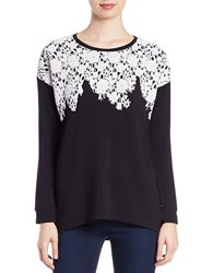 Kensie Hi Lo Lace Detailed Sweatshirt