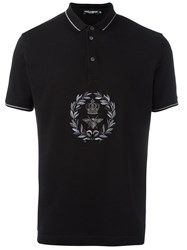 Dolce And Gabbana Crown Bee Embroidered Polo Shirt Black