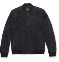 Theory Brant Suede Bomber Jacket Blue
