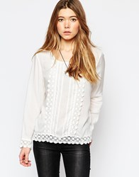 Only Long Sleeve Top With Crochet Detail White