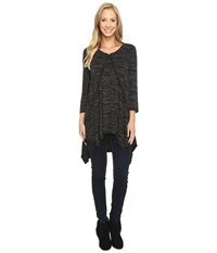 Mod O Doc Space Dye Rayon Spandex Jersey Raw Edge Hanky Hem Tunic Black Heather Women's Long Sleeve Pullover