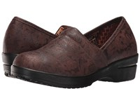 Roper Claire Brown Faux Leather Embossed Women's Clog Shoes