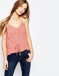 Asos Pretty Button Through Cami Top Pink