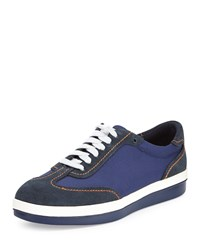 Tommy Bahama Roaderick Suede Canvas Sneaker Navy
