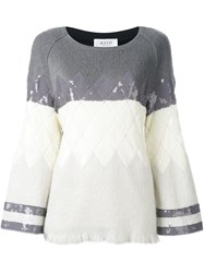 Aviu Sequin Argyle Jumper Grey