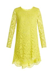 Adam By Adam Lippes Long Sleeved Guipure Lace Trapeze Mini Dress Yellow