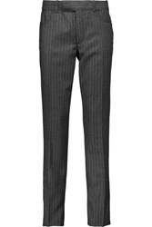 Tom Ford Striped Wool And Cashmere Blend Straight Leg Pants Dark Gray