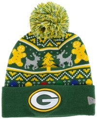 New Era Green Bay Packers Christmas Sweater Pom Knit Hat