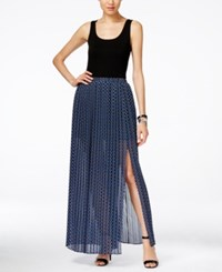 Michael Kors Alston Pleated Front Slit Maxi Dress Royal