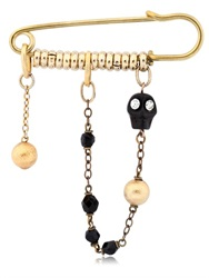 Maria Zureta Black Skull Bronze Safety Pin