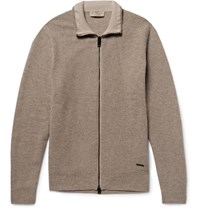 Burberry London Honeycomb Knit Wool And Cahmere Blend Zip Up Cardigan Muhroom Mushroom