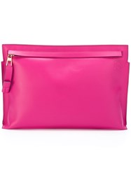 Loewe Large 'T' Clutch Bag Pink And Purple