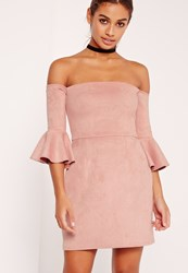 Missguided Bonded Faux Suede Frill Cuff Bodycon Dress Pink Beige