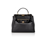 Fendi Peekaboo Large Handbag Black Soft Gold