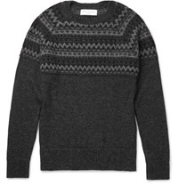 Officine Generale William Fair Isle Alpaca Sweater Charcoal