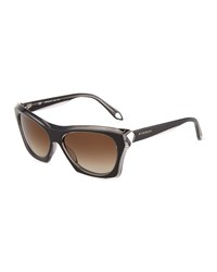 Givenchy Faceted Plastic Rectangle Sunglasses Black Crystal