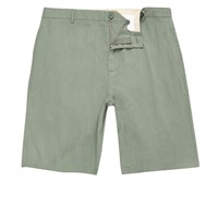River Island Mens Green Linen Slim Fit Chino Shorts