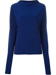 Norma Kamali Wide Collar Knitted Blouse Blue