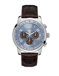 Guess Mens Classic Sport Steel Chronograph And Leather Strap Watch Blue