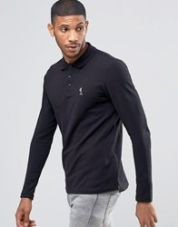 Religion Long Sleeve Pique Polo Black White Skel